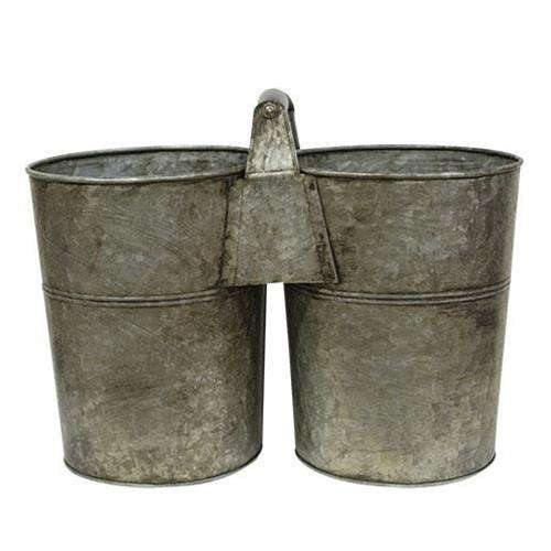 Galvanized Double Bucket With Handle Buckets & Cans CWI+