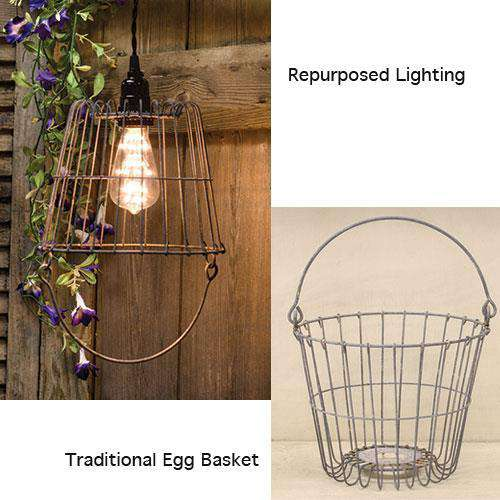 "Galvanized Egg Basket, 7.5"" Wire Baskets CWI+"