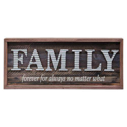 *Galvanized Family Framed Sign Faith, Family, Friends CWI+