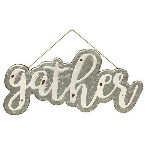 Galvanized Gather Wall Sign with Jute Rope Hanger Pictures & Signs CWI+