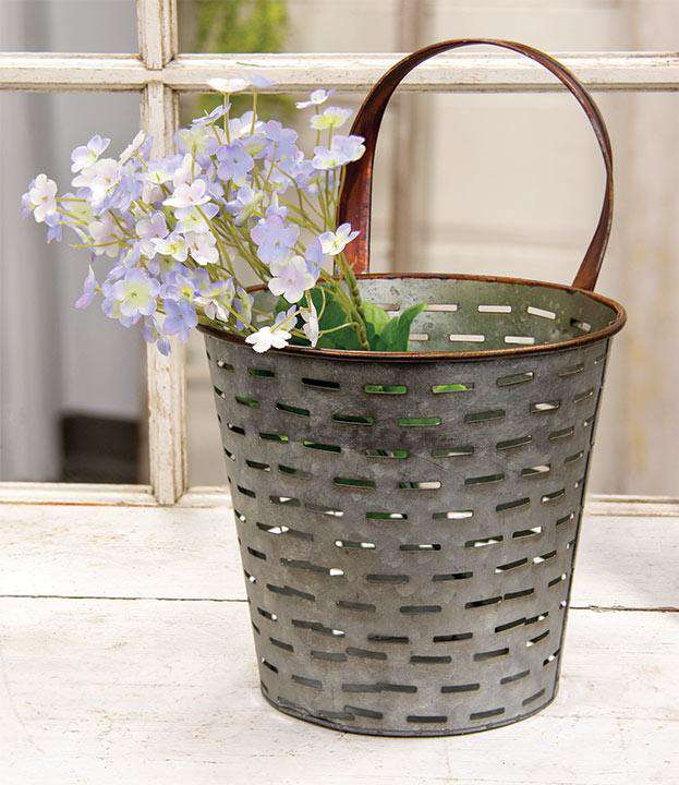 Galvanized Metal Olive Bucket Buckets & Cans CWI+