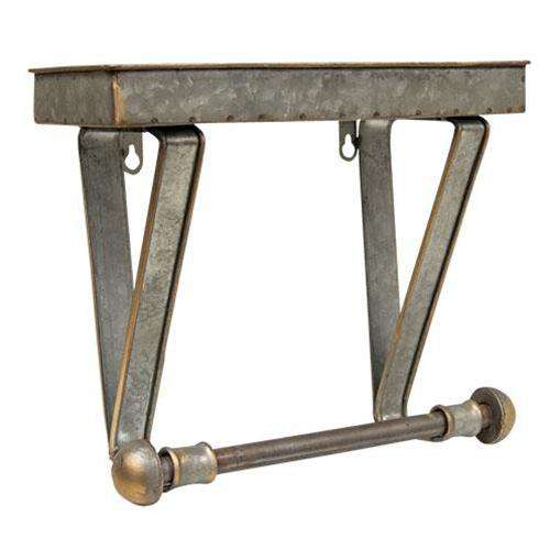 Galvanized Metal Towel Hanger and Shelf Rustic Shelves & Storage CWI+