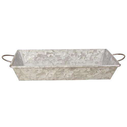 Galvanized Metal Tray w/ Handles Containers CWI+