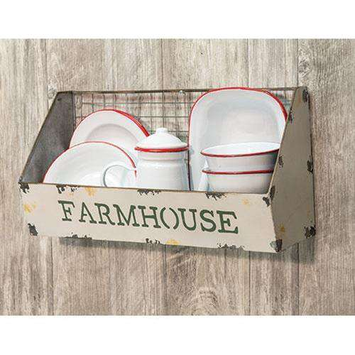 "Galvanized Metal Wire Wall Basket, ""Farmhouse"" Baskets CWI+"