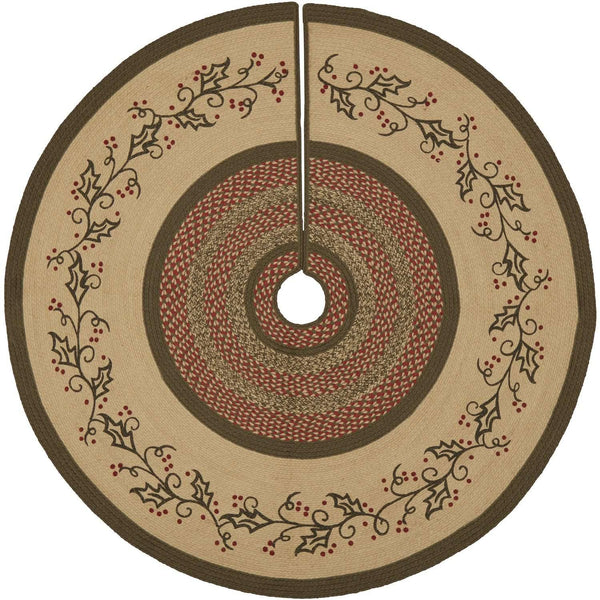 Holly Berry Jute Stencil Christmas Tree Skirt 55 VHC Brands