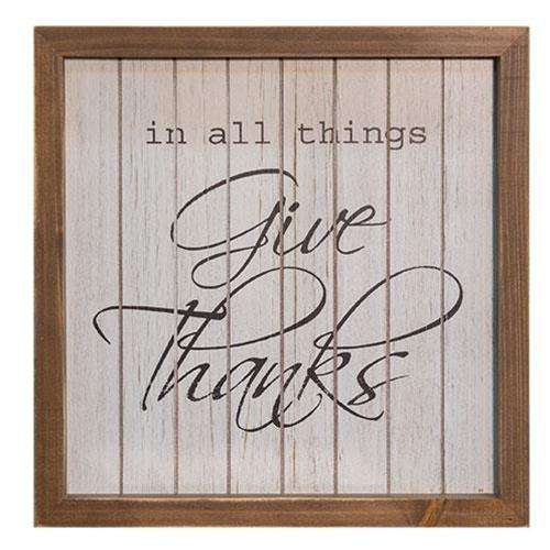 "Give Thanks Framed Sign, 10"" Pictures & Signs CWI+"