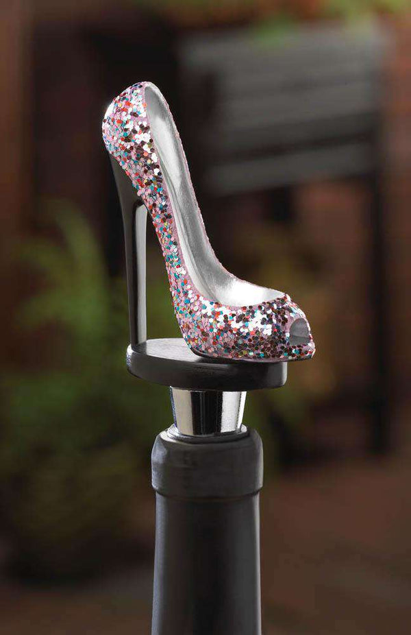 Glitter Shoe Wine Bottle Stopper Accent Plus