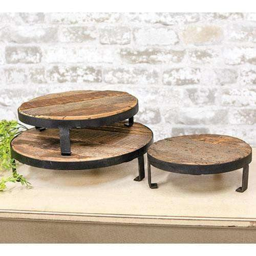 3/Set, Weathered Wood and Metal Round Risers