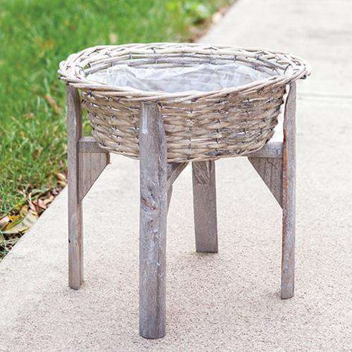 "Gray Willow Flower Basket w/ Stand, 12"" Baskets CWI+"