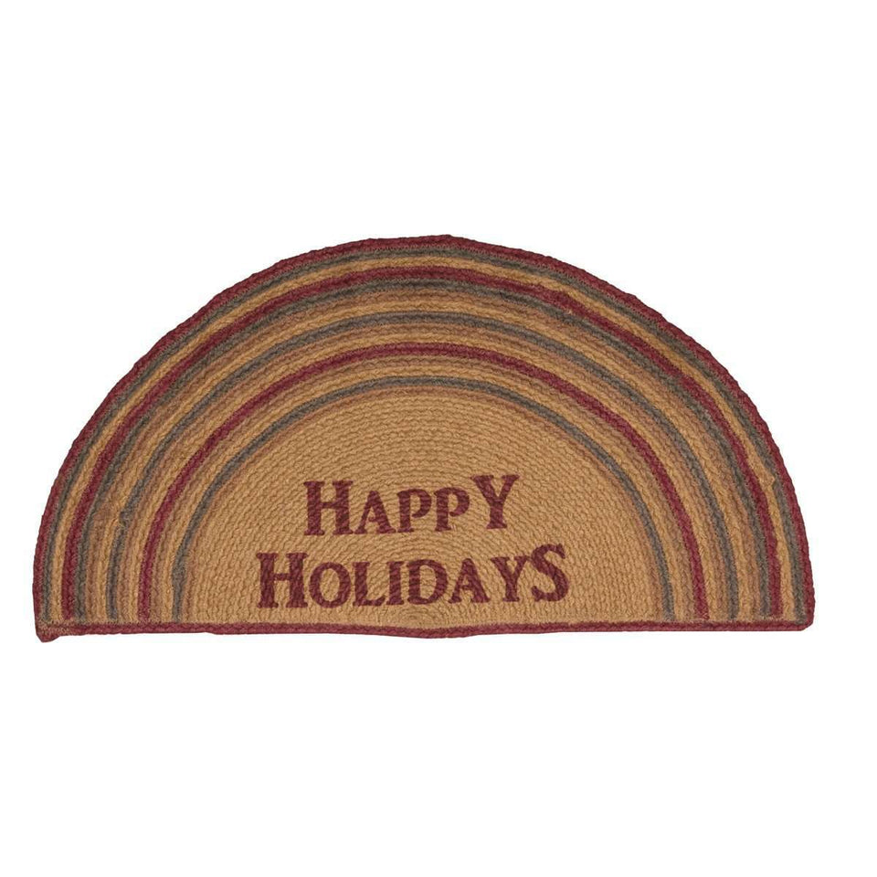 Happy Holidays Stencil Jute Braided Rug Half Circle VHC Brands rugs VHC Brands 16.5X33 Half Circle