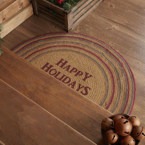 Happy Holidays Stencil Jute Braided Rug Half Circle VHC Brands rugs VHC Brands
