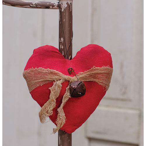 Heart Ornament w/ Rusty Bell Valentine Decor CWI+