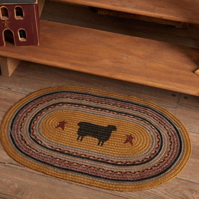 Heritage Farms Sheep Jute Braided Rug Oval/Half Circle rugs VHC Brands