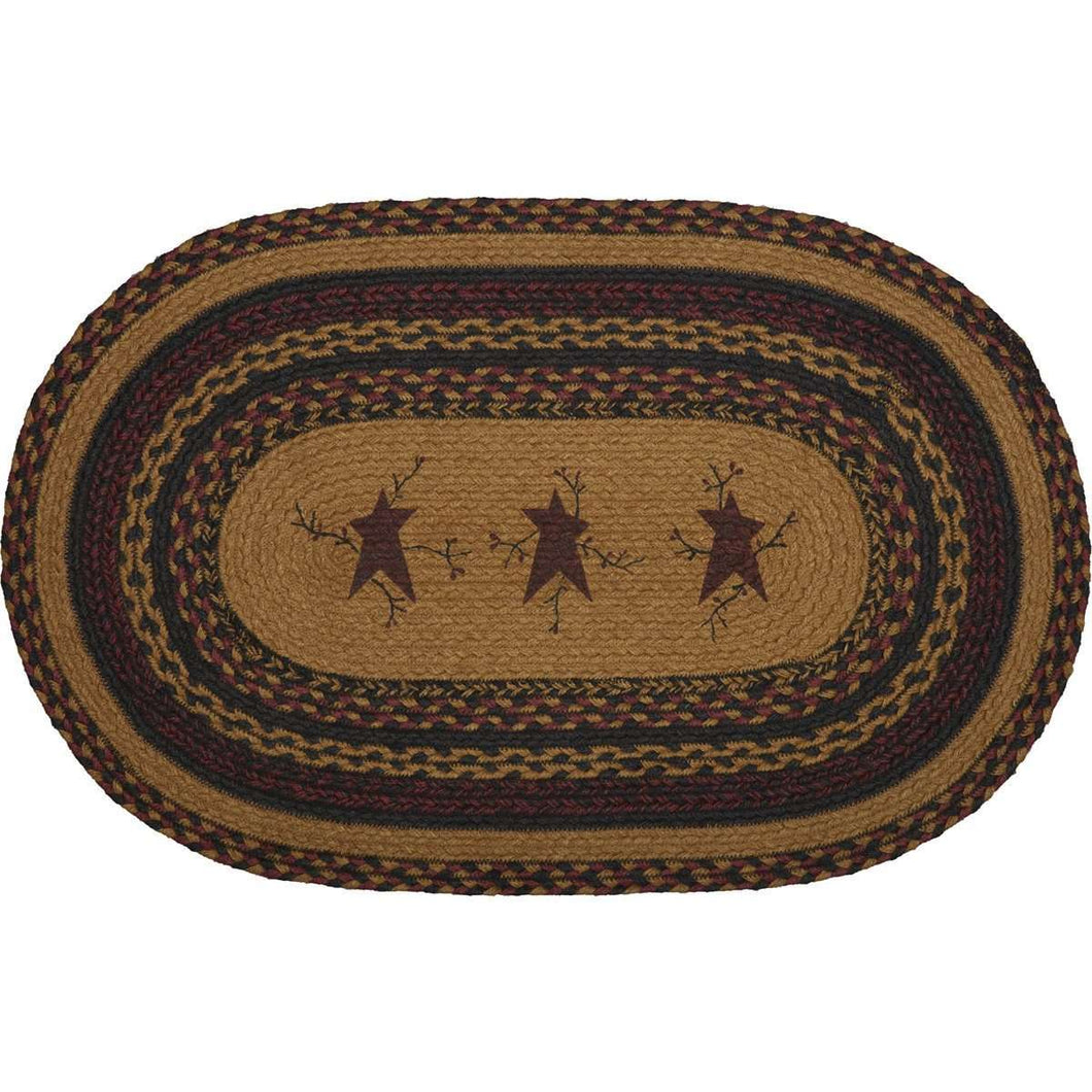 Heritage Farms Star and Pip Jute Braided Rug Oval rugs VHC Brands 20x30 inch