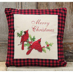 "*Holiday Cardinal Pillow, 16"" Sq Pillows CWI+"