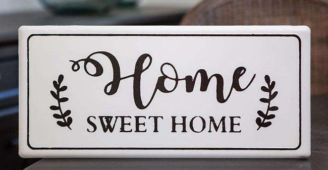 Home Sweet Home White Metal Wall Sign Metal Signs CWI+
