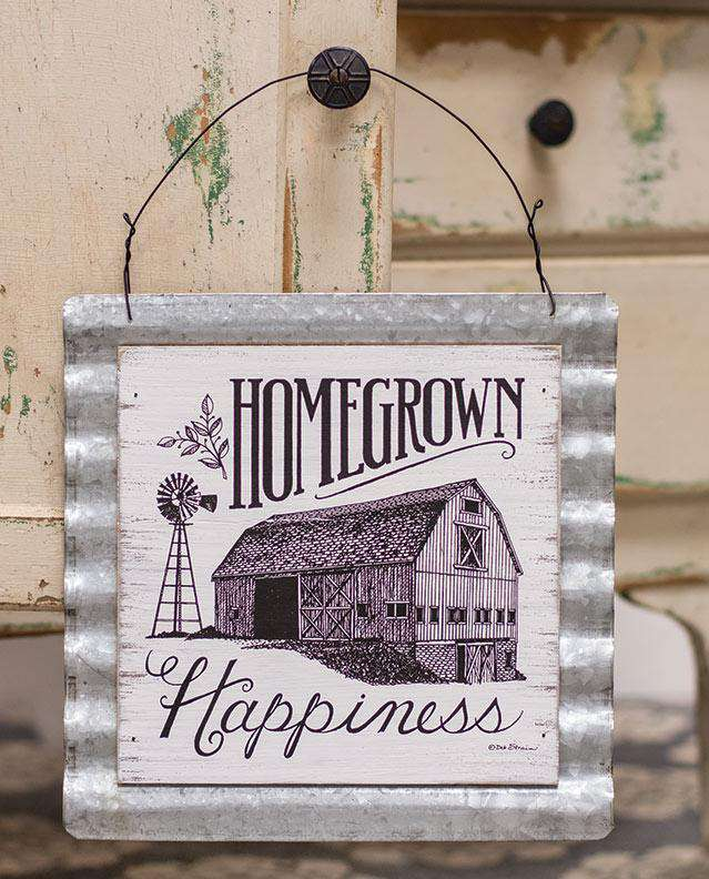 Homegrown Happiness Wood & Corrugated Metal Wall Sign Pictures & Signs CWI+
