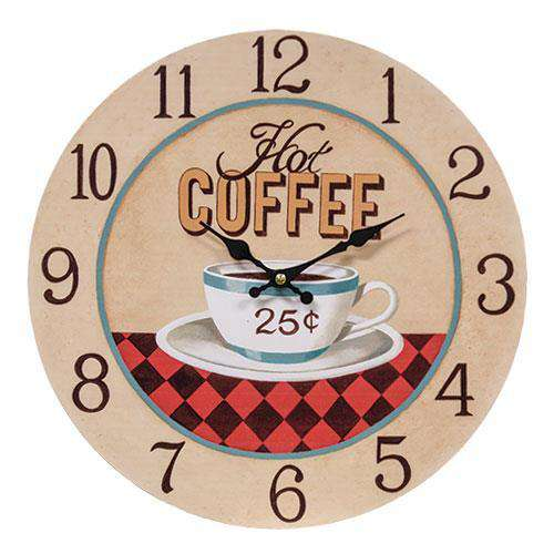 Hot Coffee 25¢ Country Clock wall clocks CWI+