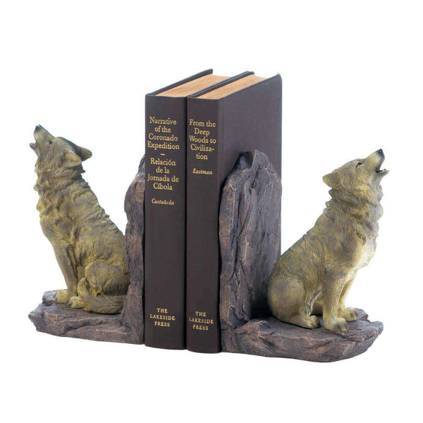 Howling Wolf Bookends Dragon Crest