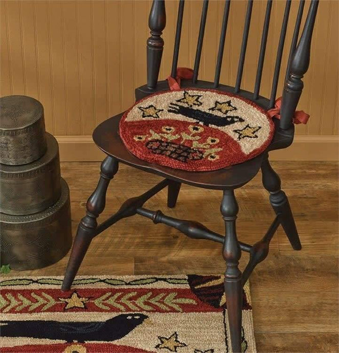 Folk Crow Hooked Chair Pad Park Designs