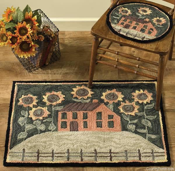 House and Sunflowers Hooked Chair Pad Park Designs