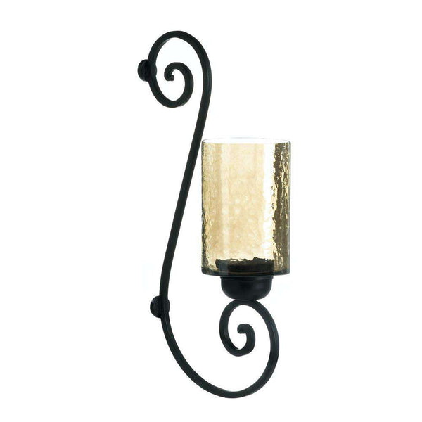 Iridescent Glass Scroll Wall Sconce candle holder CWI+
