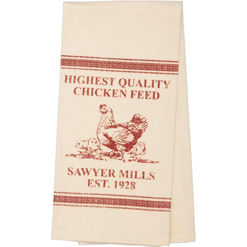 Sawyer Mill Red Chicken Muslin Unbleached Natural Tea Towel 19x28 VHC Brands