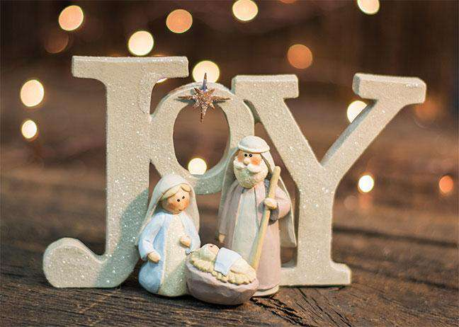 Joy Resin Glitter Nativity Tabletop & Decor CWI+