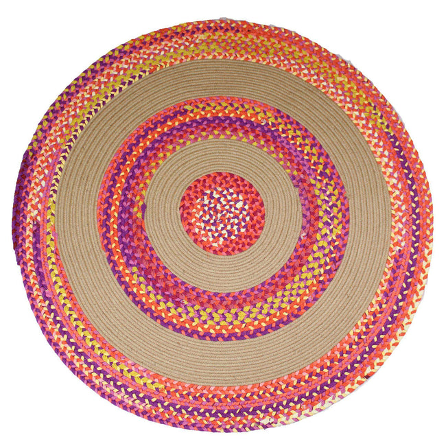Jute & Cotton Multi-colored Chindi Braided Rug Reversible rug The Fox Decor