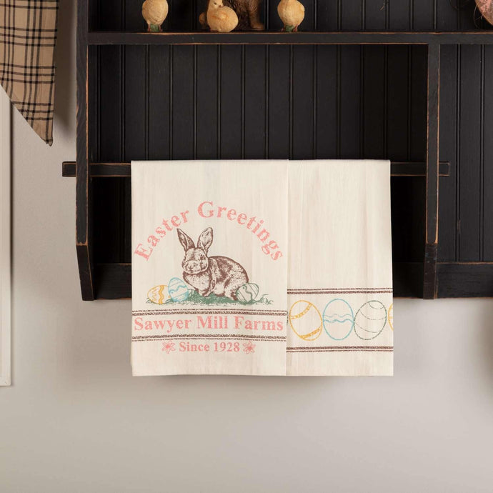 Sawyer Mill Easter Greetings Bunny Unbleached Natural Muslin Tea Towel Set of 2 19x28
