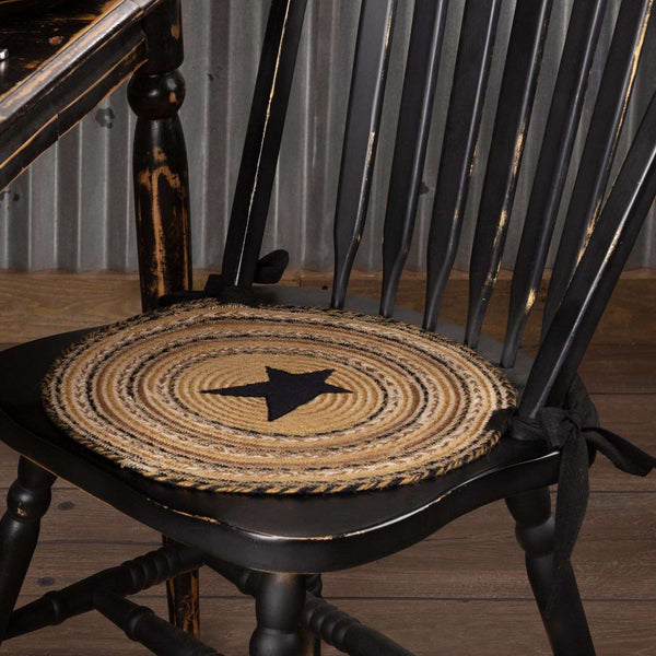 Kettle Grove Jute Braided Chair Pad Applique Star Set of 6 Natural, Black, Caramel Chair Pad VHC Brands