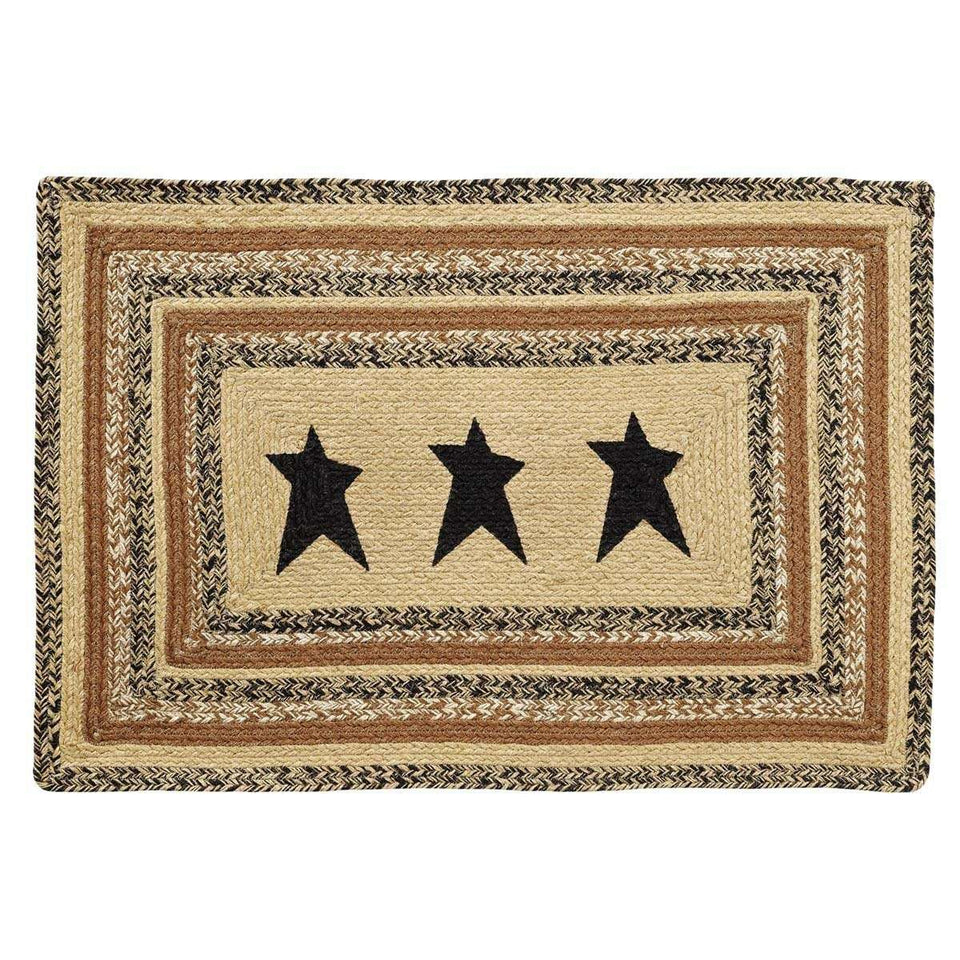 "Kettle Grove Jute Braided Rectangle Stencil Star VHC Brands Rugs VHC Brands 24"" x 36"""