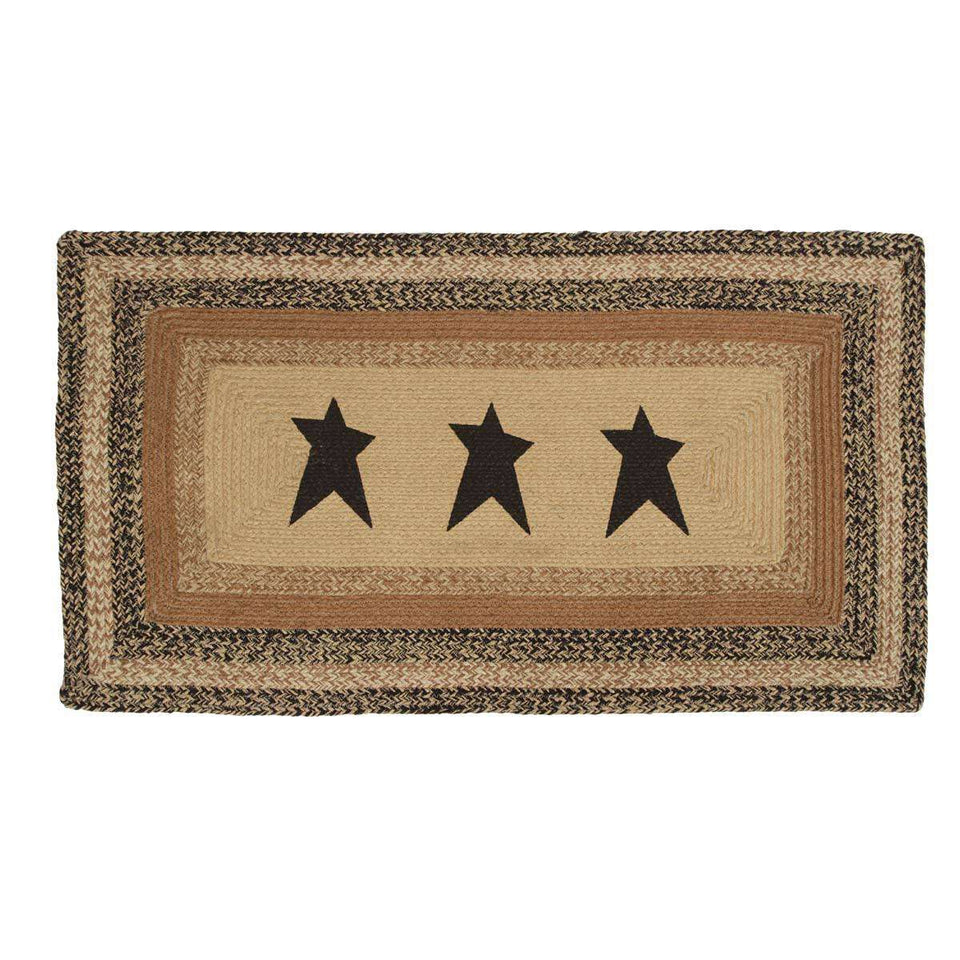 "Kettle Grove Jute Braided Rectangle Stencil Star VHC Brands Rugs VHC Brands 27""X48"""
