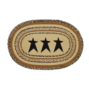 "Kettle Grove Jute Braided Rugs Oval Stencil Star VHC Brands Rugs VHC Brands 20""X30"""