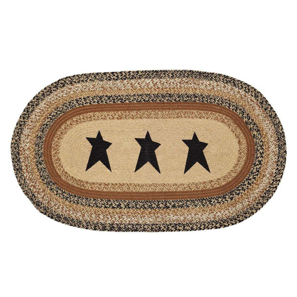 "Kettle Grove Jute Braided Rugs Oval Stencil Star VHC Brands Rugs VHC Brands 36"" x 60"""
