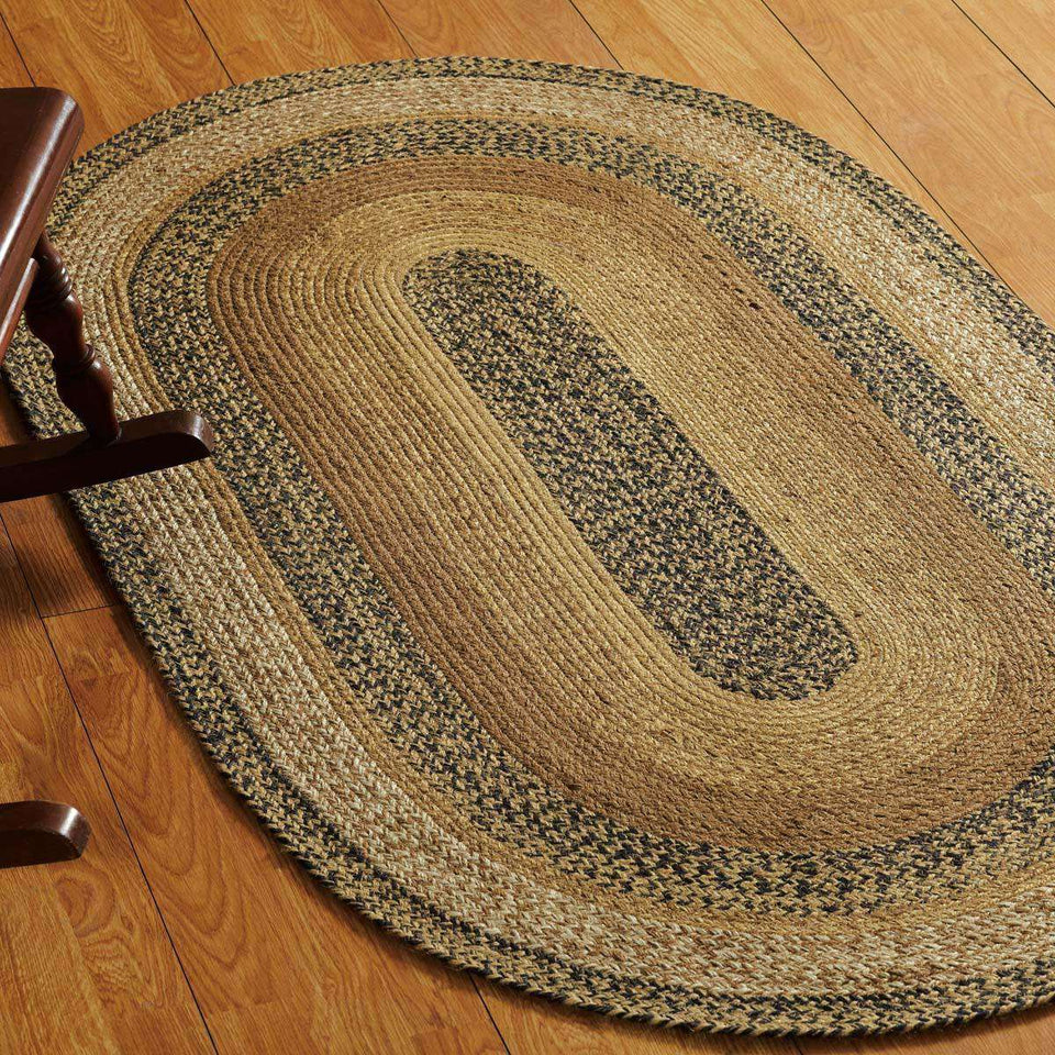 Kettle Grove Jute Oval Braided Rug VHC Brands rugs CWI Gifts