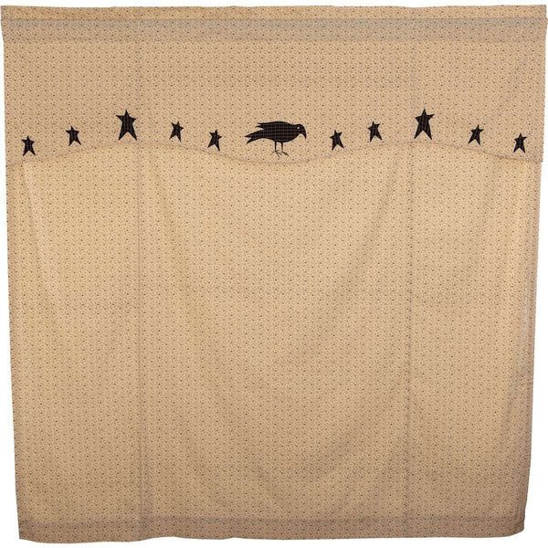 "Kettle Grove Shower Curtain with Attached Applique Crow and Star Valance 72""x72"" curtain VHC Brands"