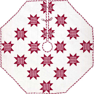 Emmie Red Patchwork Christmas Tree Skirt 60 VHC Brands