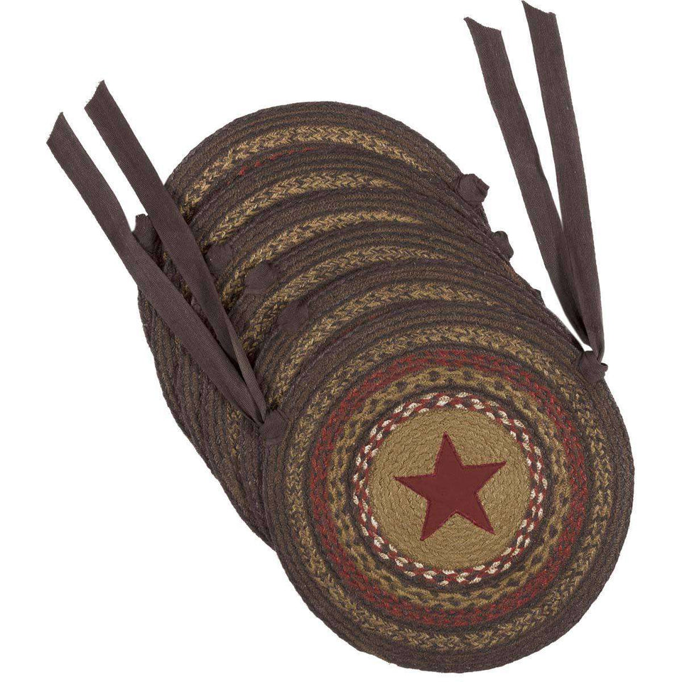 Landon Jute Applique Star Braided Chair Pad Set of 6 Almond, Chestnut, Chili Pepper Chair Pad VHC Brands