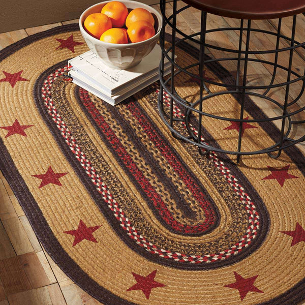 Landon Jute Braided Rug Oval Stencil Stars VHC Brands Rugs VHC Brands