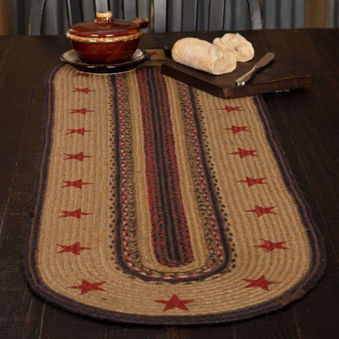 Landon Stencil Stars Jute Braided Table Runner - The Fox Decor