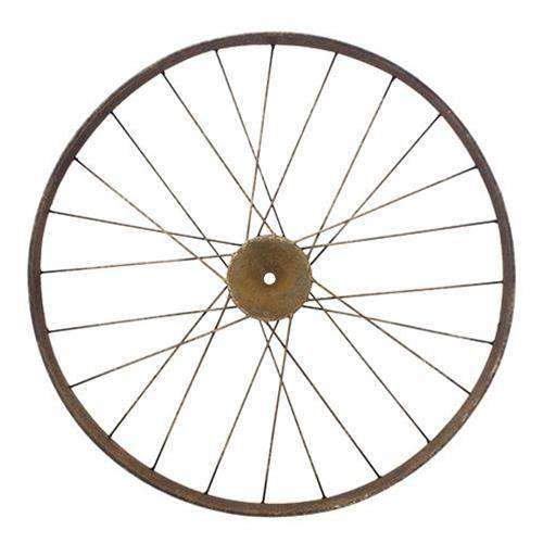 Large Antiqued Bike Wheel Wire & Wood CWI+