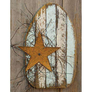 Lath Easter Egg w/Rusty Star, 4 Asst Easter CWI+