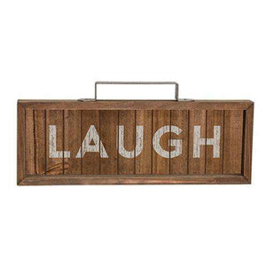 *Laugh Slatted Wood Sign w/ Handle Pictures & Signs CWI+