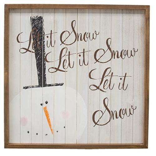 Let It Snow Framed Shiplap Easel Christmas Wood Blocks CWI+