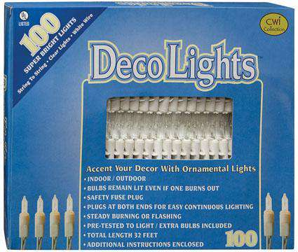 Light Set, White Cord, 100ct Light Strands CWI+