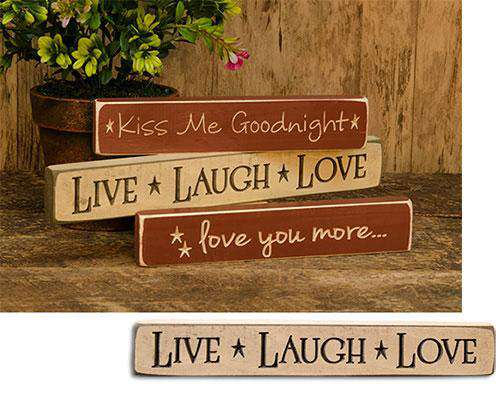 "Live Laugh Love Engraved Block, 12"" Valentine Decor CWI+"