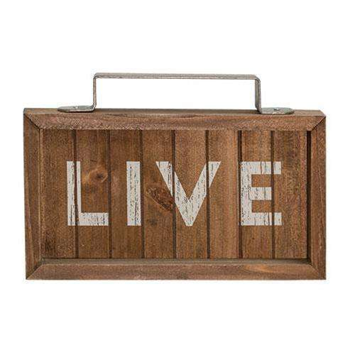 *Live Slatted Wood Sign w/Handle Pictures & Signs CWI+