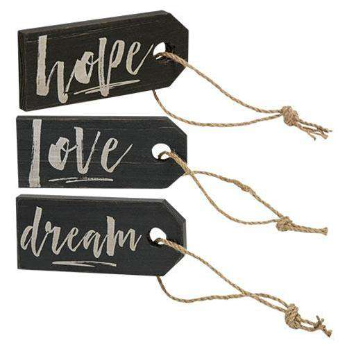 Love, Dream, Hope Wood Tag, 3 Asst. Wall Decor CWI+