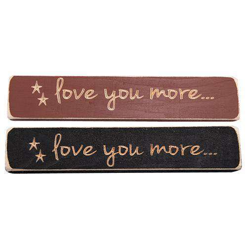 "Love You More Engraved Block, 9"", Asst Valentine Decor CWI+"